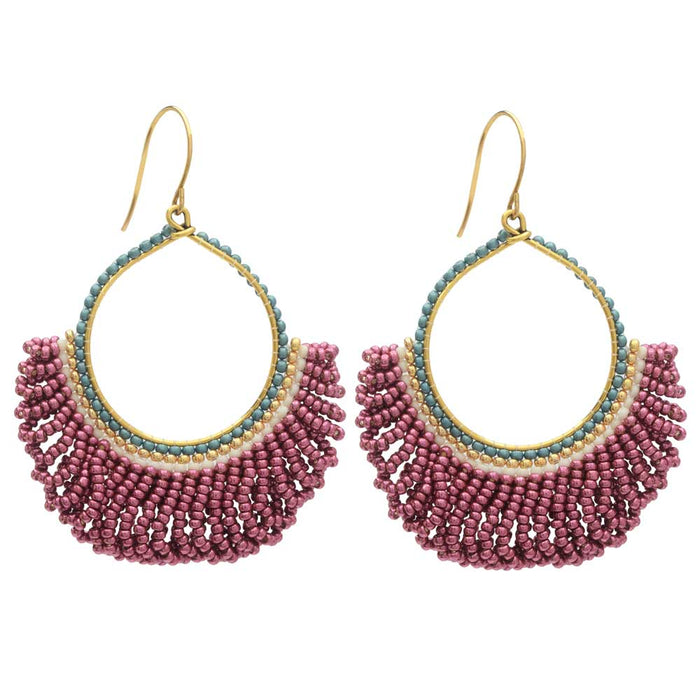 Fresca Beaded Fringe Earrings in Pink Lady - Exclusive Beadaholique Jewelry Kit