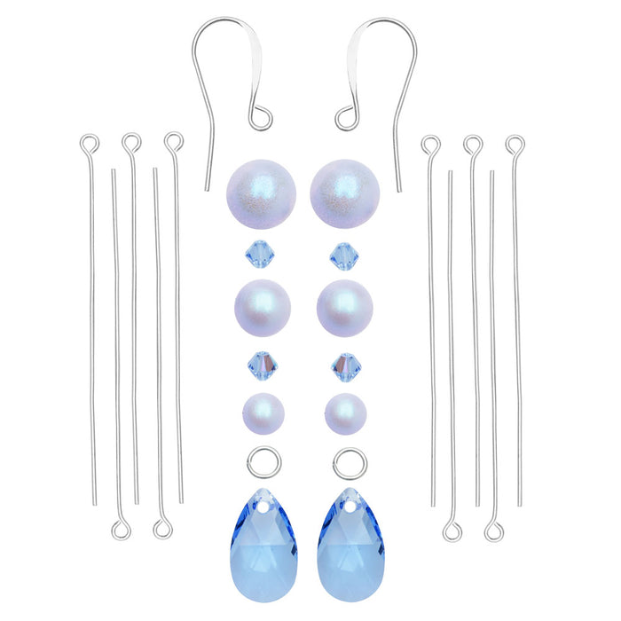Dreamy Pearl Drop Earrings Mini Kit in Blue - Exclusive Beadaholique Jewelry Kit