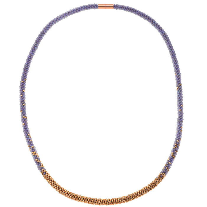 Long Beaded Kumihimo Necklace - Rainbow Purple & Rose Gold - Exclusive Beadaholique Jewelry Kit
