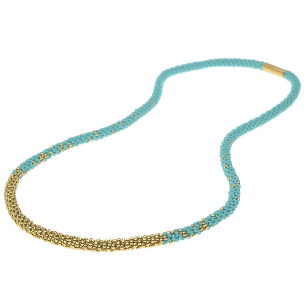 Long Beaded Kumihimo Necklace - Teal & Gold - Exclusive Beadaholique Jewelry Kit