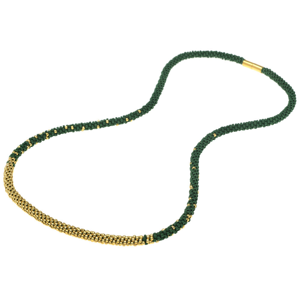 Long Beaded Kumihimo Necklace - Green and Gold - Exclusive Beadaholique Jewelry Kit