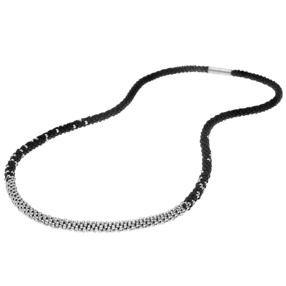 Long Beaded Kumihimo Necklace - Black & Silver - Exclusive Beadaholique Jewelry Kit