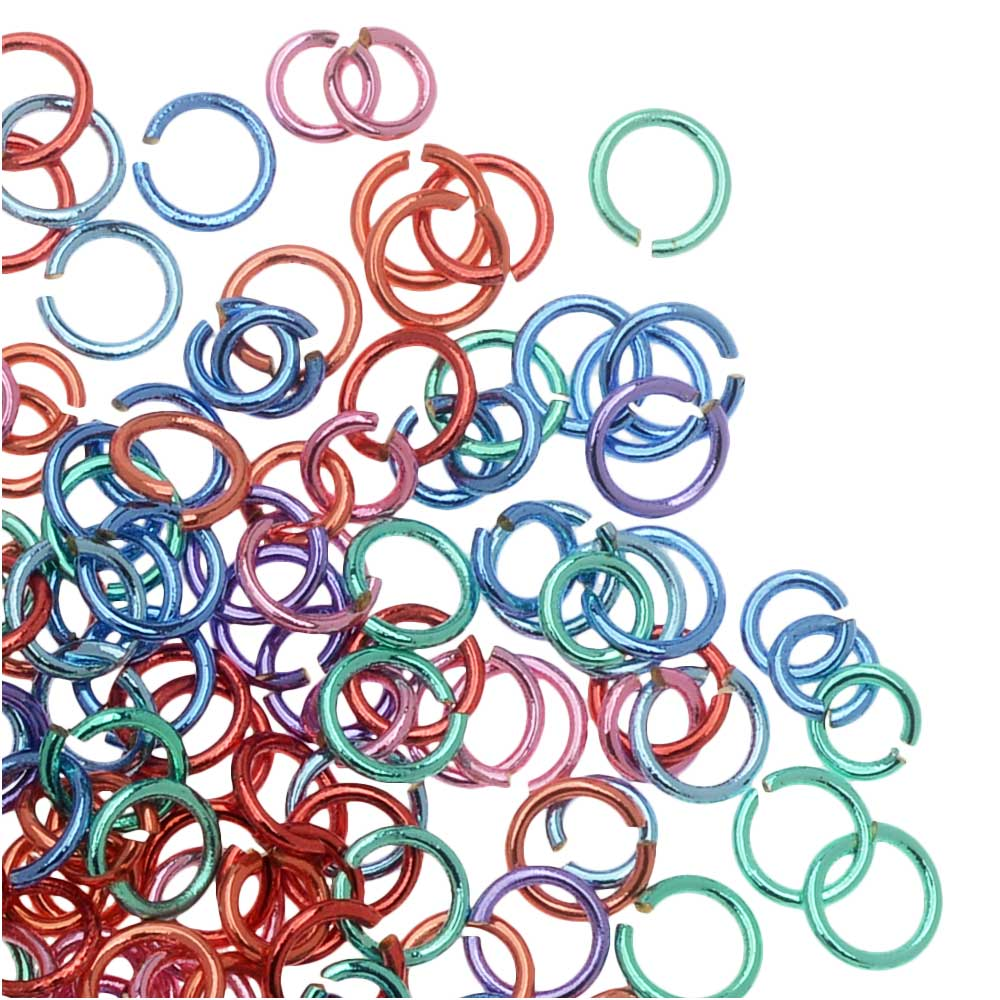 Open Jump Rings, Assorted Color Mix, 4-5mm / 21 Gauge, 10 Gram Bag