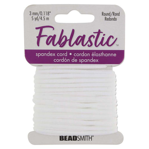 Fablastic Stretch Cord for Mask Making, Round 3mm (0.118 Inch) Thick, 5 Yards, White