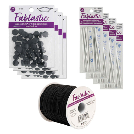 Mask Making Supplies Mega Kit, Round Stretch Cord / Aluminum Strips / Round Cord Locks, Components for 96 Masks, Black
