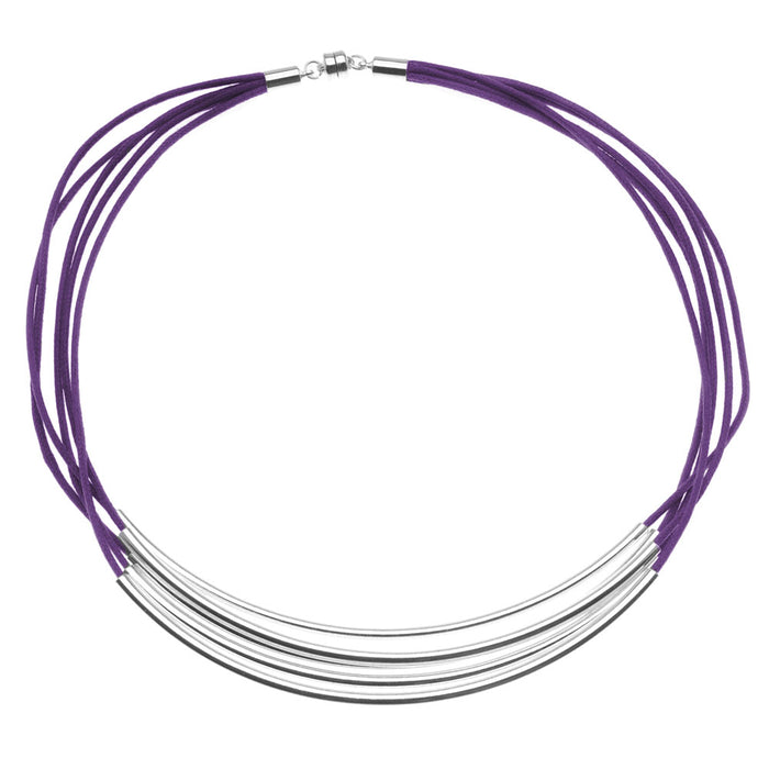 Noodle Bead Necklace in Purple