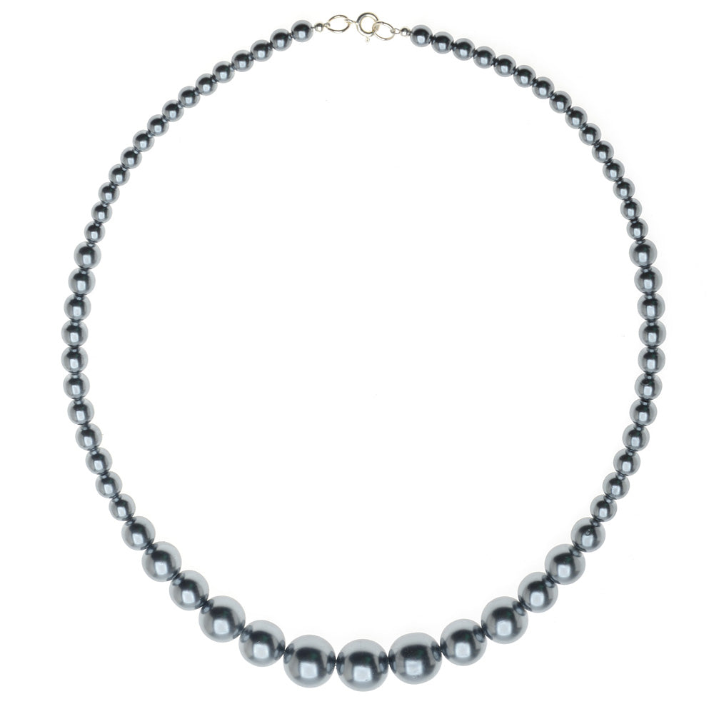 Graduated Pearl Necklace in Grey