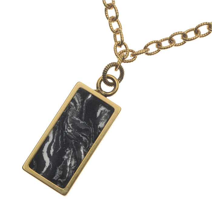 Retired - Black and White Marbled Gold Pendant Necklace