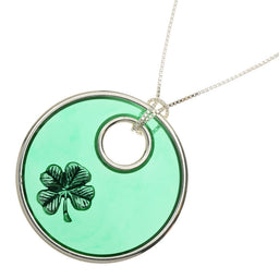 Shamrock Stained Glass Window Pendant Necklace