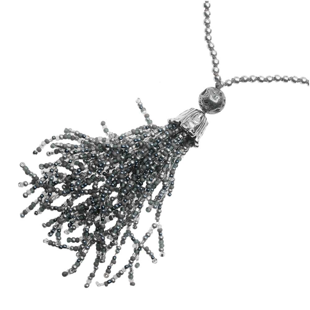 Retired - Shady Silver Tassel Necklace
