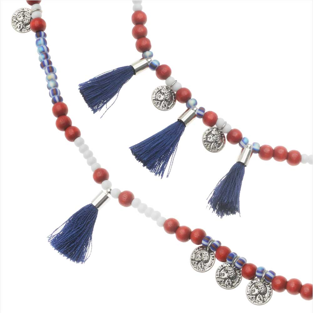 Retired - Summer Americana Tassel Necklace