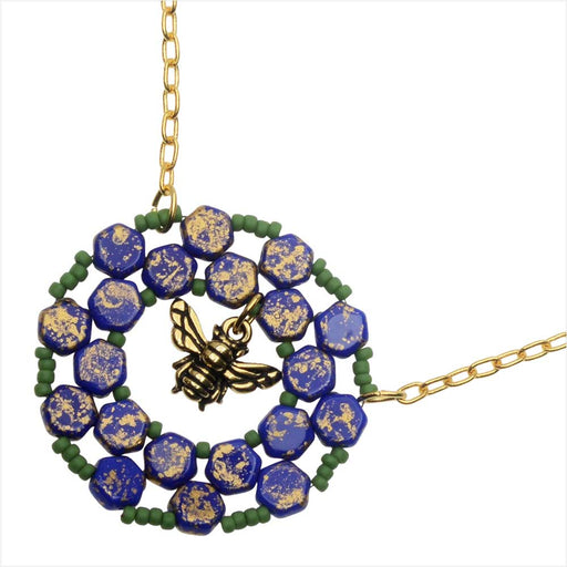 Bee Keeper Necklace in Blue