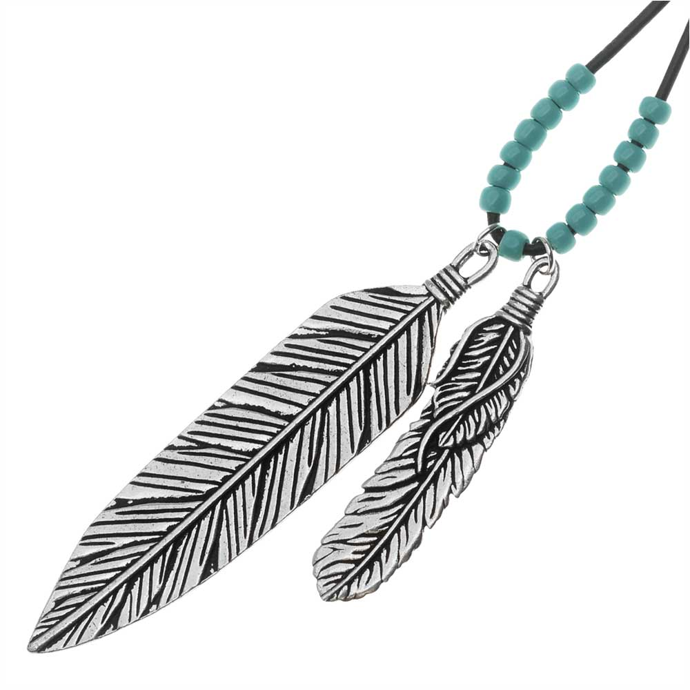 Western Winds Long Leather Feather Necklace