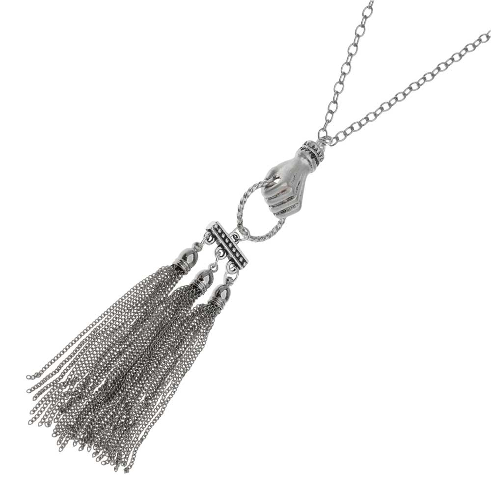Hold on Tight Silver Tassel Necklace