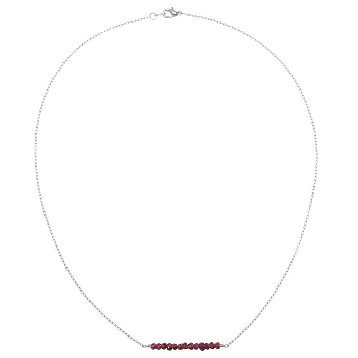 Gemstone Bar Necklace in Garnet
