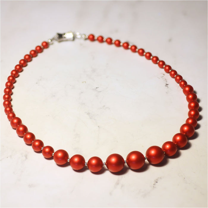 Graduated Pearl Necklace in Rouge