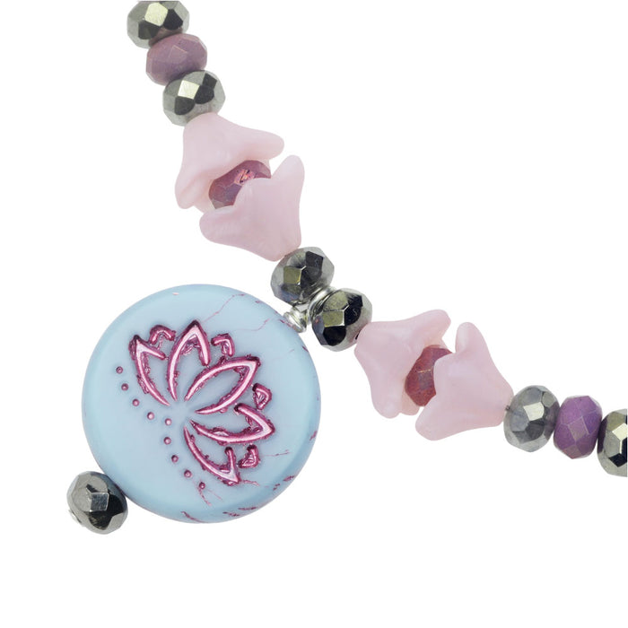 Misty Blue Lotus Choker Necklace
