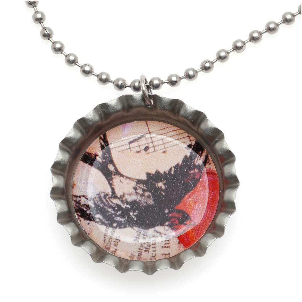 Retired - Bird in a Bottle Cap Necklace