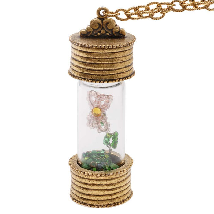 Retired - Keepsake Glass Vial Necklace with Flower