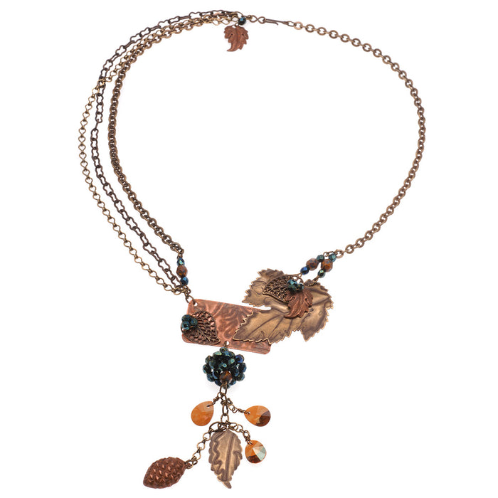 Retired - Crystal Copper Leaves Necklace