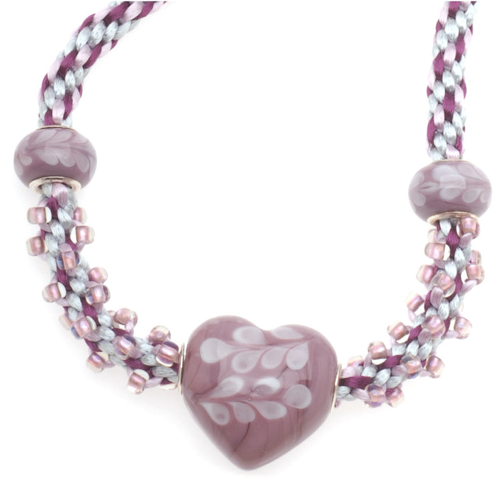 Retired - Braided Love Beaded Kumihimo Necklace