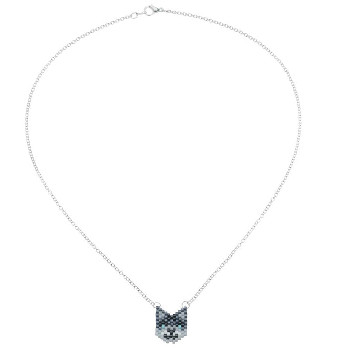 Grey Kitty Cat Necklace