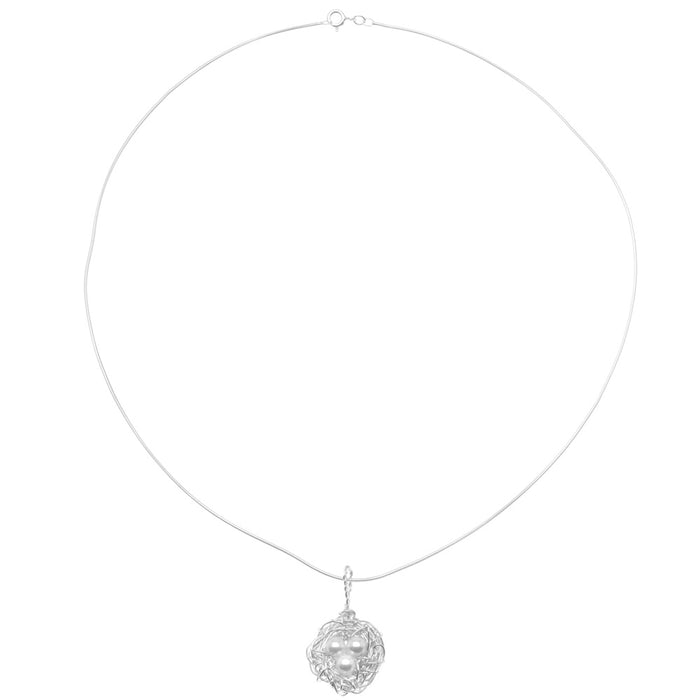 Sterling Silver and SWAROVSKI ELEMENTS Pearl Bird's Nest Necklace