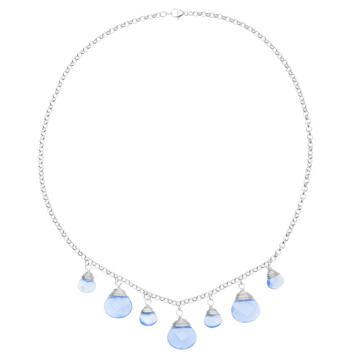 Blue Chalcedony Briolette Necklace