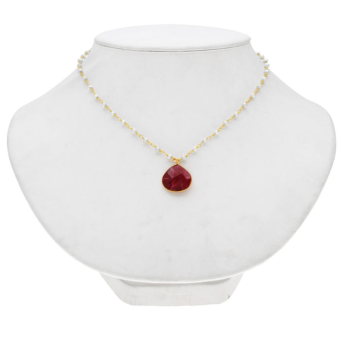 Retired - Ruby Gemstone and Pearl Necklace