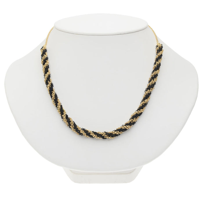 Kumihimo Braided Chain Necklace - Black & Gold