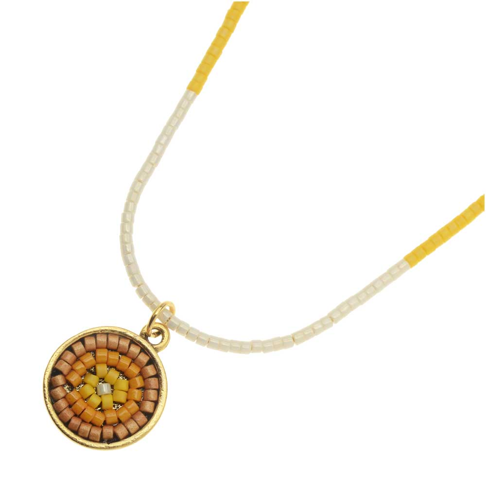 Marigold Color Blocked Medallion Necklace