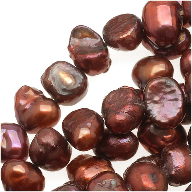 Burgundy Red Funky Nugget Cultured Pearls 3-7mm (16 Inch Strand)