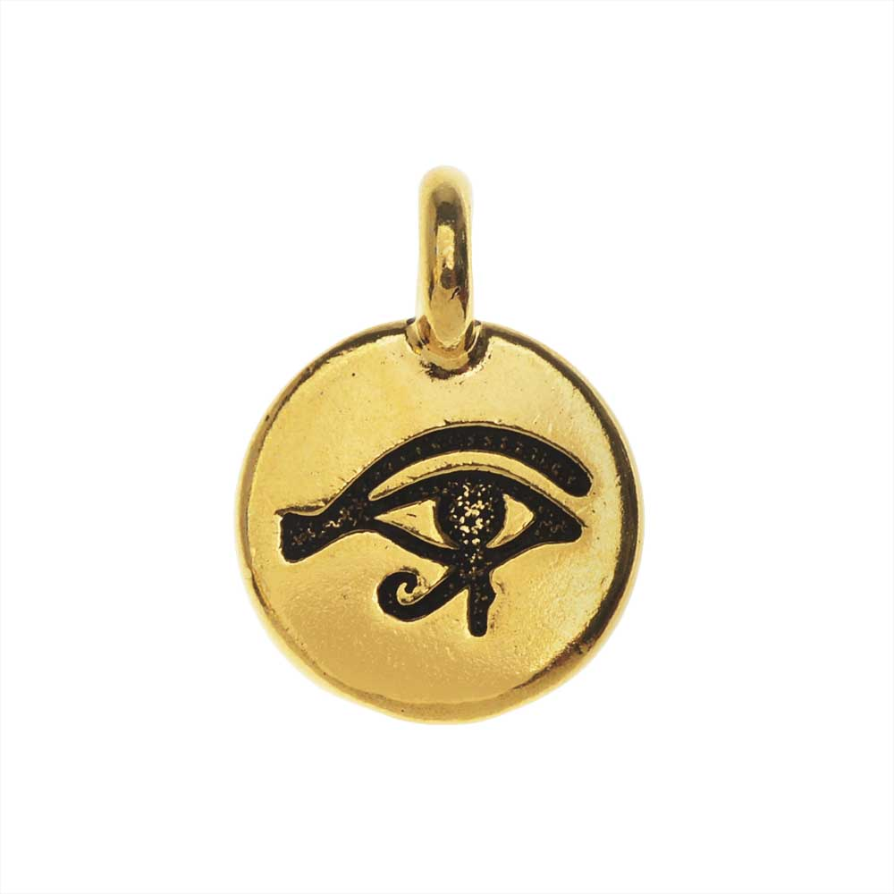 TierraCast Pewter Charm, Round Eye of Horus Symbol 16.5x11.5mm, 1 Piece, Antiqued Gold Plated
