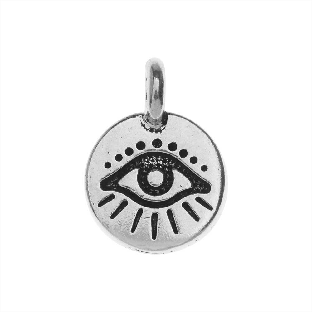 TierraCast Pewter Charm, Round Evil Eye Symbol 16.5x11.5mm, 1 Piece, Antiqued Silver Plated