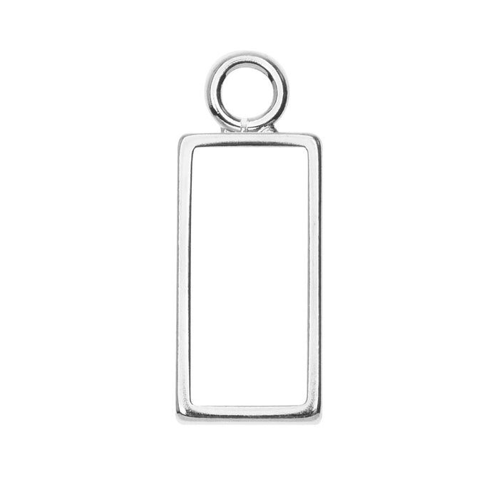 Nunn Design Open Frame Pendant, Rectangle 9.5x25mm, 1 Piece, Bright Silver