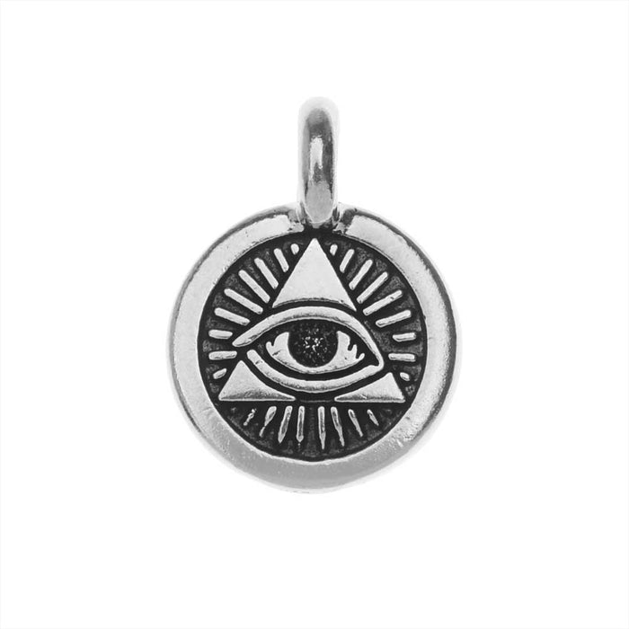 TierraCast Pewter Charm, Round Eye of Providence Symbol 16.5x11.5mm, 1 Piece, Antiqued Silver Plated