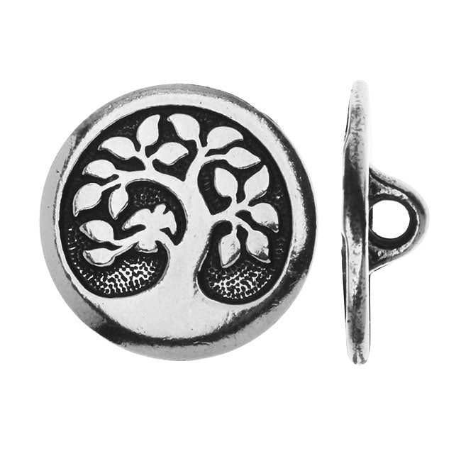 TierraCast Pewter, Round Button Tree with Bird 16mm, 1 Piece, Antiqued Silver