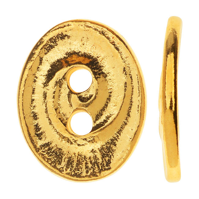 TierraCast Pewter, Oval 2-Hole Button Swirl 13.5x17.5mm, 1 Piece, Bright Gold