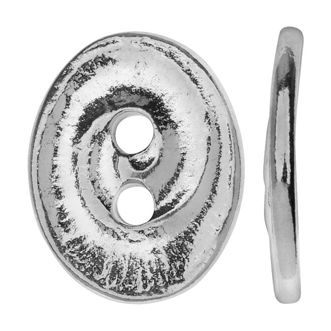TierraCast Pewter, Oval 2-Hole Button Swirl 13.5x17.5mm, 1 Piece, Bright Rhodium