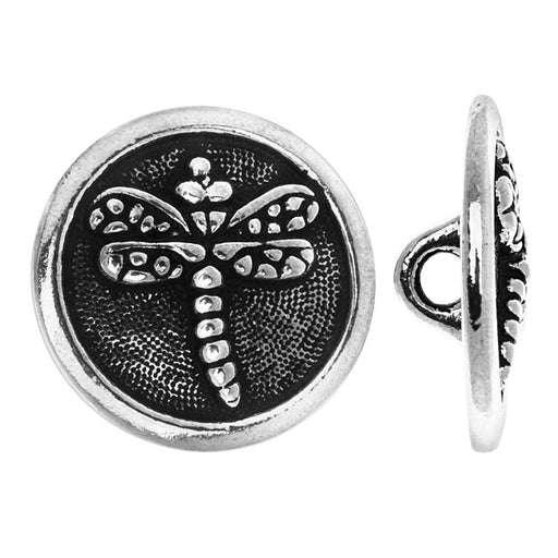 TierraCast Pewter, Round Button Dragonfly 16.5mm, 1 Piece, Antiqued Silver