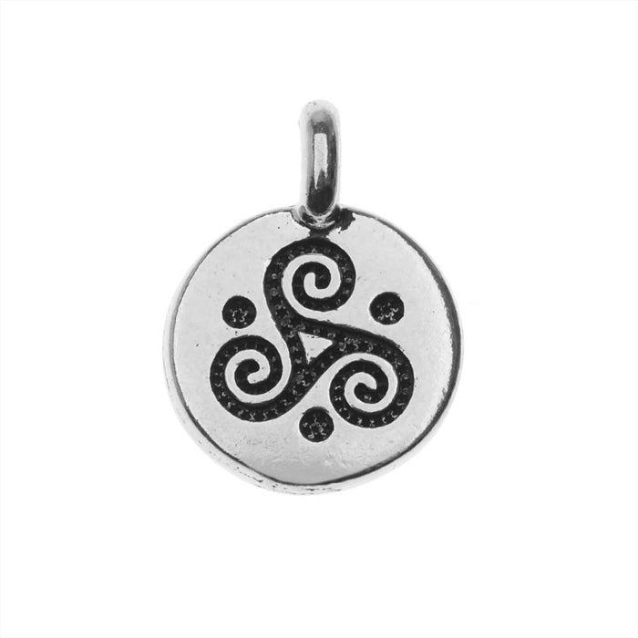 TierraCast Pewter Charm, Round Triple Spiral Symbol 16.5x11.5mm, 1 Piece, Antiqued Silver Plated