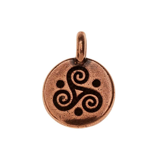 TierraCast Pewter Charm, Round Triple Spiral Symbol 16.5x11.5mm, 1 Piece, Antiqued Copper Plated