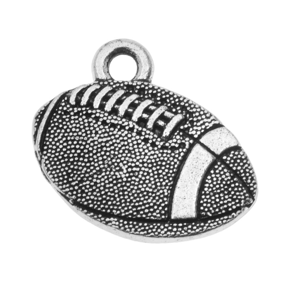 TierraCast Pewter Charm, 2-Sided Football 15x17.7mm, 1 Piece, Antiqued Silver Plated
