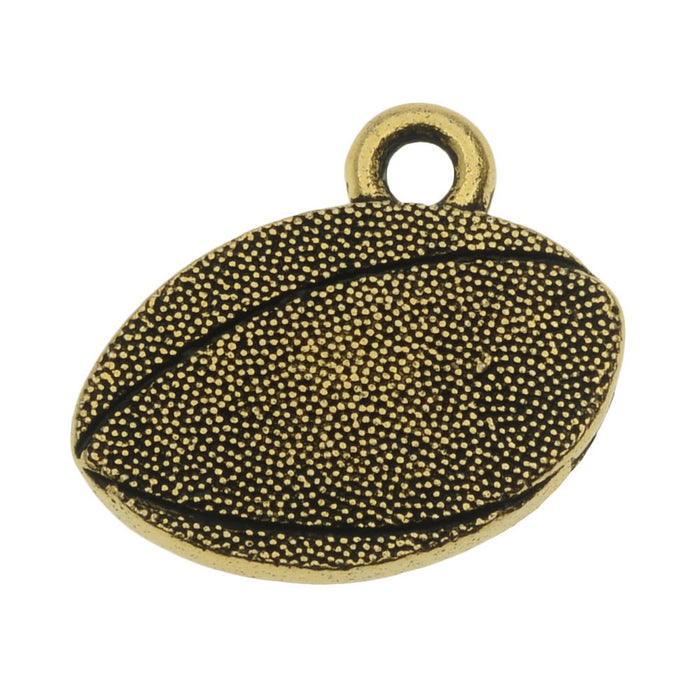 TierraCast Pewter Charm, 2-Sided Football 15x17.7mm, 1 Piece, Gold Plated