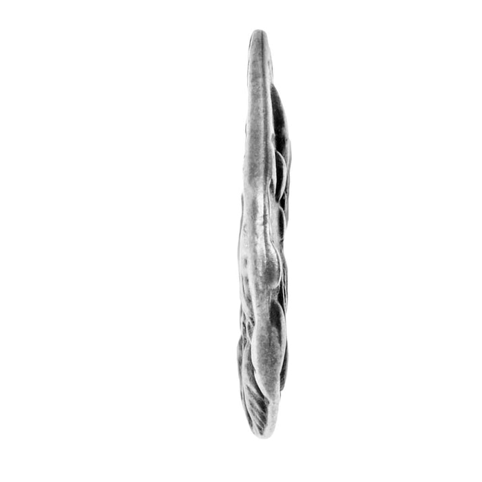 TierraCast Charm, Flora Small Teardrop 12.5x15.5mm, 1 Piece, Antiqued Pewter