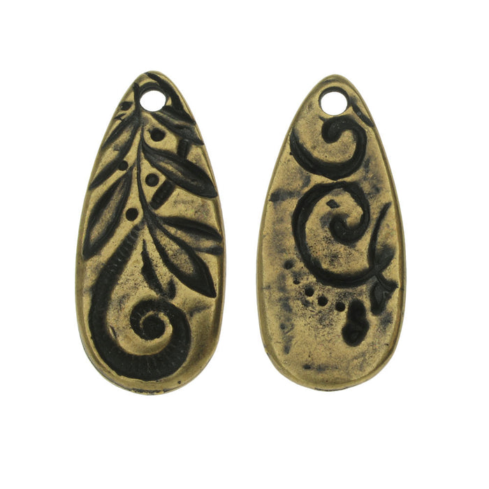 TierraCast Charm, Jardin Teardrop 10x23mm, 1 Piece, Brass Oxide Finish