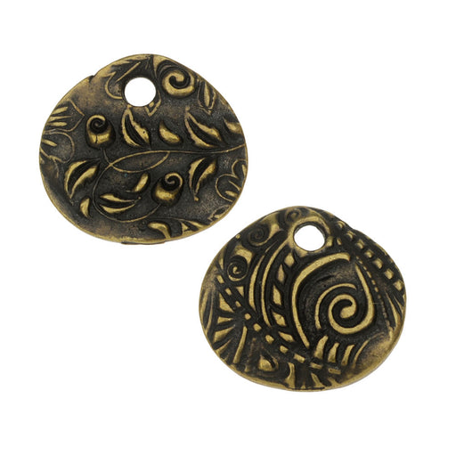 TierraCast Charm, Jardin Round 15mm, 1 Piece, Brass Oxide Finish