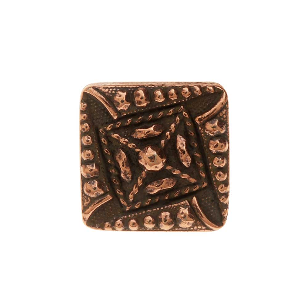 TierraCast Pewter Button, Czech Square Design 10mm, 1 Piece, Antiqued Copper Plated