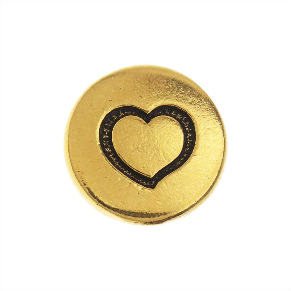 TierraCast Pewter Button, Round Heart Design 12mm Diameter, 1 Piece, Antiqued Gold Plated