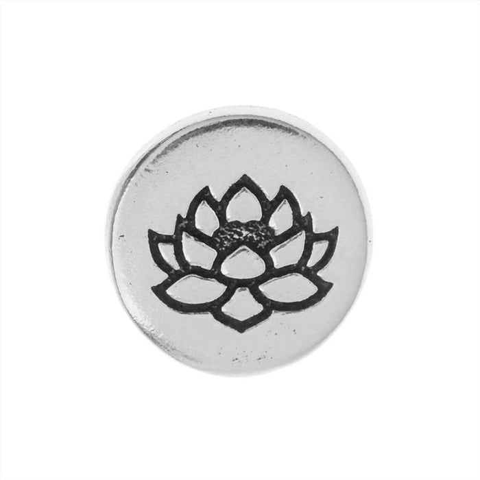 TierraCast Pewter Button, Round Lotus Flower Design 12mm Diameter, 1 Piece, Antiqued Silver Plated